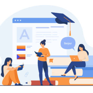 Happy women learning language online isolated flat vector illustration. Cartoon female characters taking individual lessons through messenger. Education and digital technology concept