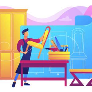 Chair manufacture. Interior designer. Carpentry workshop. Custom furniture, best bespoke furniture, master furniture makers concept. Bright vibrant violet vector isolated illustration