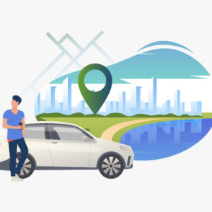 Man standing by car with cityscape in background. Transport, vehicle concept. Vector illustration can be used for topics like business, car sharing service, transportation