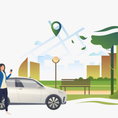 Woman standing by car with city park and pointer on map. Transport, vehicle concept. Vector illustration can be used for topics like business, car sharing service, transportation