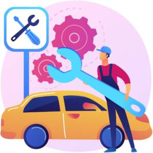 Car service abstract concept vector illustration. Car repair shop, vehicle detailing and maintenance business, automobile fixing service, motor diagnostics, transport mending abstract metaphor.