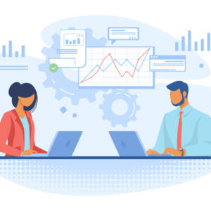 Couple of professionals analyzing graphs. Business people using laptops flat vector illustration. Business, analysis, marketing concept for banner, website design or landing web page